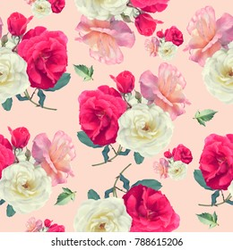seamless   pattern of rose flowers . Endless texture for your design.