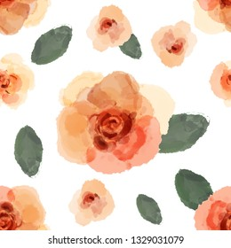 Seamless pattern of roses isolated on white background