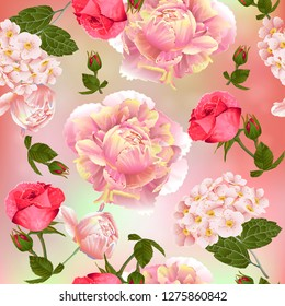Seamless pattern with roses and peonies flowers. Modern floral pattern for packaging, textile, wallpaper, print, gift wrap, scrapbooking, decoupage, greeting or wedding background.