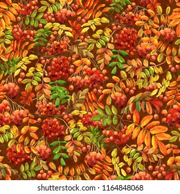 Seamless pattern with rowan red berries hand-drawn with watercolor