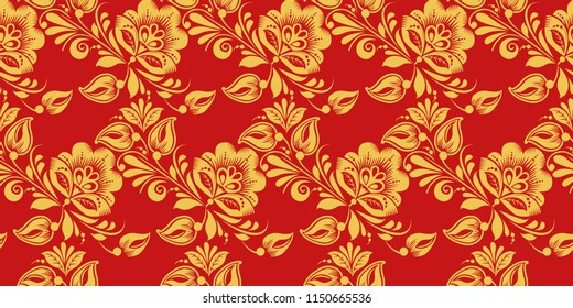 Seamless pattern in Russian traditional decor syle. Classic hohloma in red and gold colors. Khokhloma floral ornament