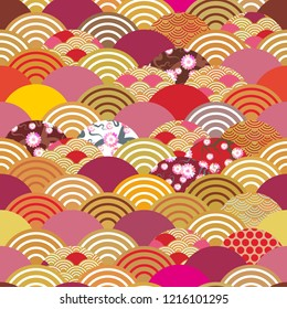seamless pattern scales simple Nature background with japanese sakura flower, rosy pink Cherry, wave circle pattern orange red burgundy colors.