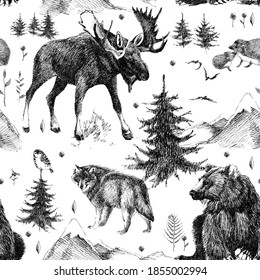 seamless pattern with scandinavian woodland and wild animals. hand drawn design line graphics. fashion textile design monochrome color.