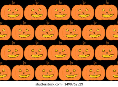 Seamless pattern of scary face pumpkins. Funny wallpaper for textile and fabric. Fashion style. Colorful bright design.