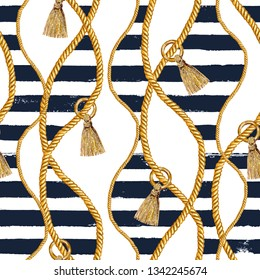 Seamless pattern sea nautical illustration. Watercolor hand drawn fashion texture with ropes and grunge dark blue stripes on white background. Watercolour print for textile, fabric, wrapping.