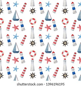 Seamless pattern sea theme.  Watercolor hand-drawn lighthouse, ship, anchor.