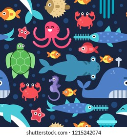 Seamless pattern of sea underwater life. flat illustrations. Under water marine wildlife, fish and starfish