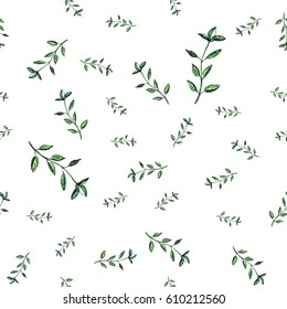 Seamless pattern with seasoning. Watercolor basil branches