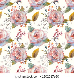 Seamless pattern. Set of flower branches. Pink rose flower, green leaves, red . Wedding concept with flowers. Floral poster, invitation. Watercolor arrangements for greeting card or invitation design.