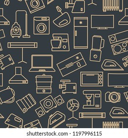 Seamless pattern from a set of household appliances icons of thin lines,  illustration.