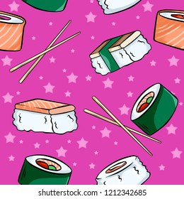 Seamless pattern of set of  sushi and rolls with sticks on pink background. Wallapaper and fabric design.