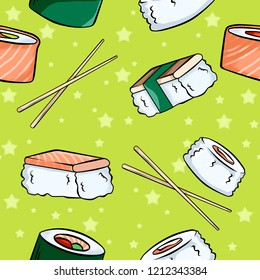 Seamless pattern of set of  sushi and rolls with sticks on green background. Wallapaper and fabric design.