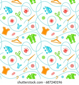 Seamless pattern with sewing tools flat icons scattered on white background. Seamstress supplies for tailoring and needlework. Handmade kids clothes wrapping paper design.