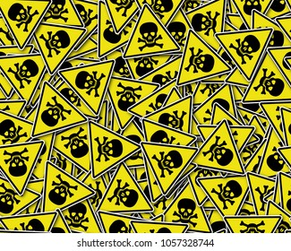Seamless pattern, sign chemical danger, toxic weapon