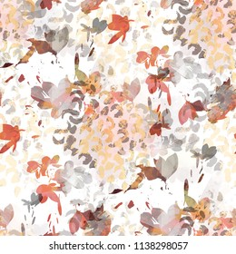 Seamless pattern simple design. Mixed background with abstract flowers, leopard dots and watercolor effect. Textile print for bed linen, jacket, package design, fabric and fashion concepts.