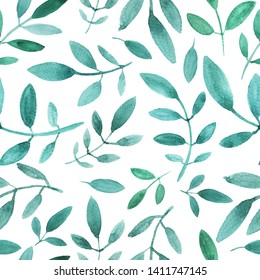 Seamless pattern with simple  floral branches.  Green shades.  Loose watercolor. White background