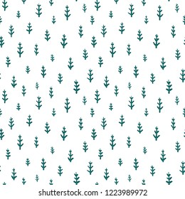 Seamless pattern with simple hand-drawn Christmas tree branches on a white background