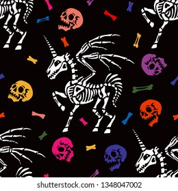 Seamless pattern. Skeleton of a pegasus with horn among the multicolored human skulls and bones. Unicorn with wings. Anatomy of a mythical creature. Ideal for Halloween.