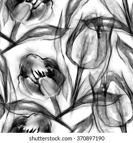 Seamless Pattern of Sketched Tulips