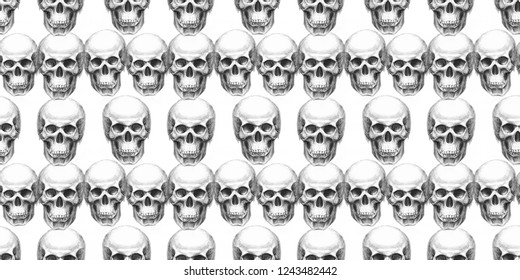 Seamless pattern with skulls. Hand drawn. Raster illustration.