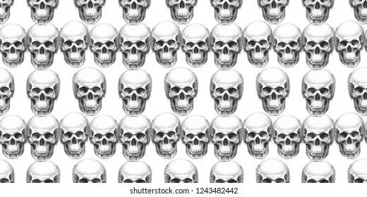 Seamless pattern with skulls. Hand drawn. Raster illustration.