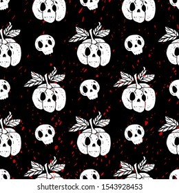 Seamless pattern of skulls and pumpkins with blood drops in the background. Halloween seamless pattern. Decorative illustration, good for printing. Great for label, print, packaging.