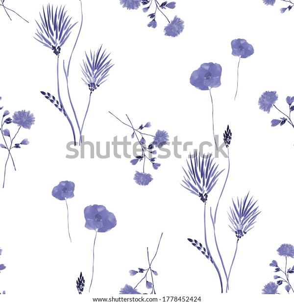 Seamless pattern of small abstract blue flowers  on a white background. Watercolor