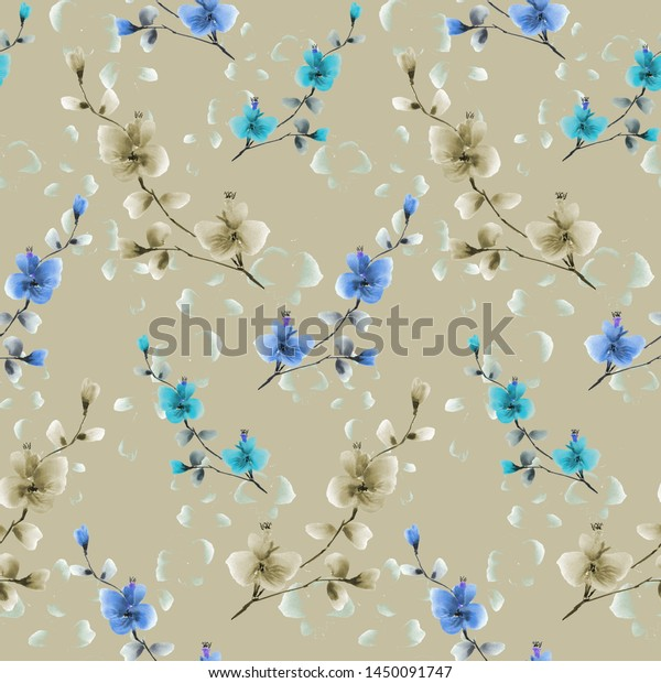 Seamless pattern small beige and blue flowers on a deep beige background. Watercolor -4