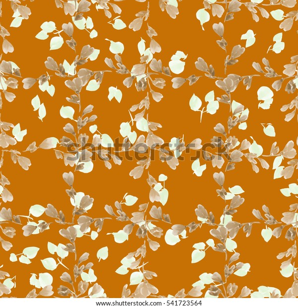 Seamless pattern small beige branches and light beige leaves on the orange background. Floral background. Watercolor