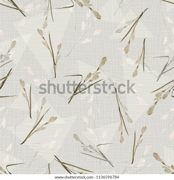 Seamless pattern of small beige flowers and branches on a light beige background with geometric figures. Watercolor