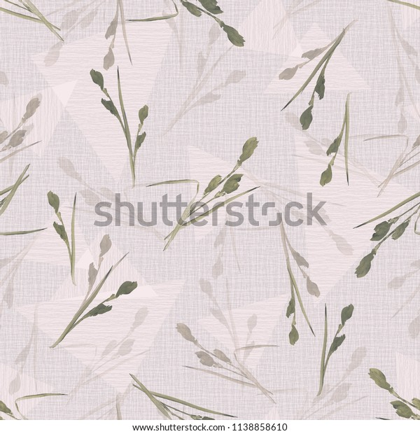Seamless pattern of small beige flowers and branches on a light pink background with geometric figures. Watercolor