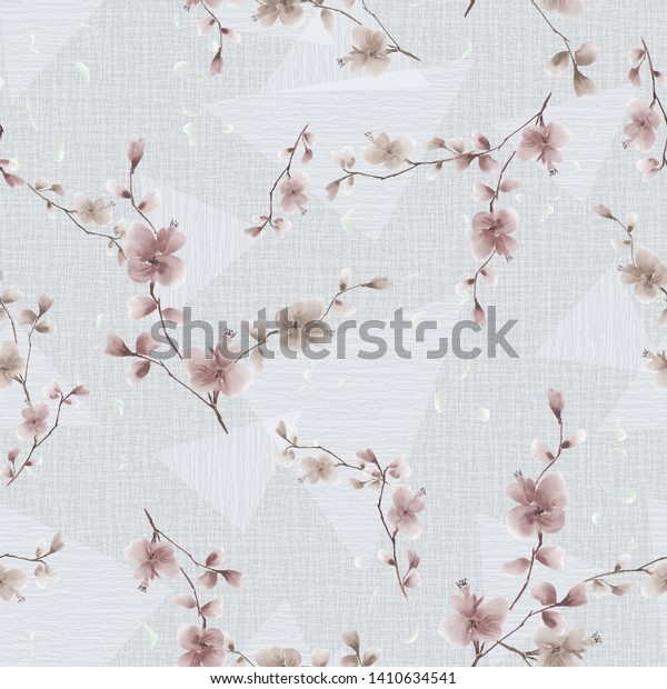 Seamless pattern of small beige flowers and branches on a light gray background with geometric figures . Watercolor