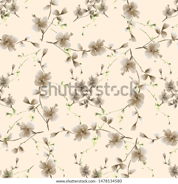 Seamless pattern small beige flowers and green branches on a light beige background.