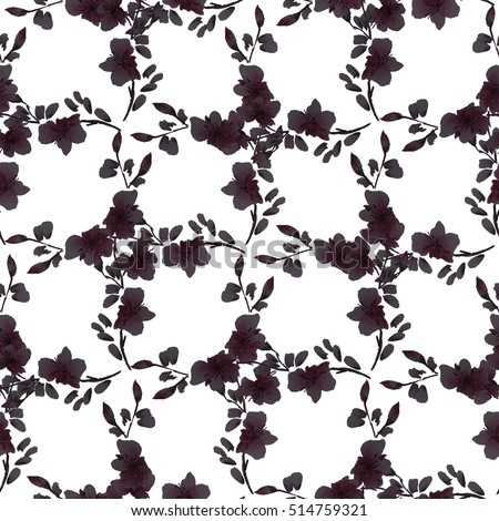 Seamless pattern small black flowers and branches on a white background. Floral background. Watercolor