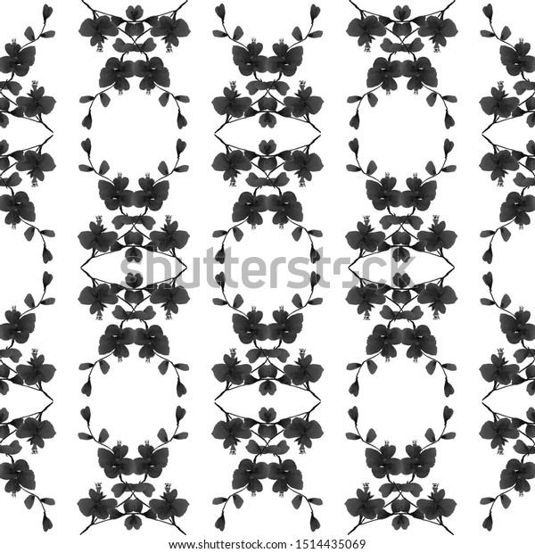 Seamless pattern of small black flowers and bouquets on a white background.