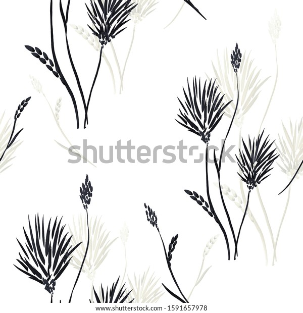 Seamless pattern of small black and gray  flowers on a white background. Watercolor