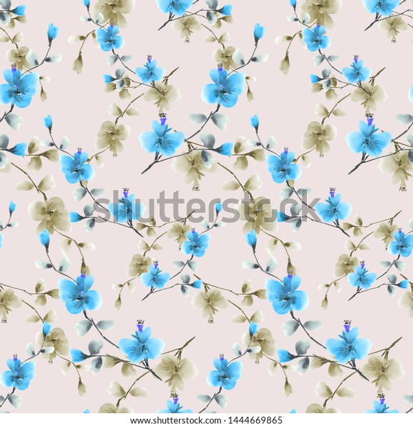 Seamless pattern of small blue and beige flowers on the light pink background. Watercolor -4