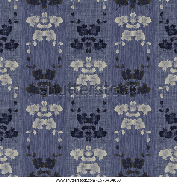 Seamless pattern of small blue, beige flowers and bouquets on a blue background with vertical stripes. Watercolor -9