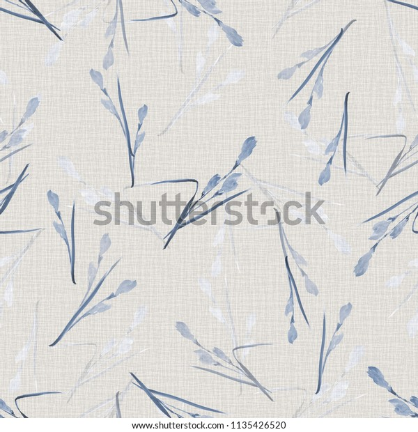 Seamless pattern of small blue flowers and branches on a light gray background. Watercolor