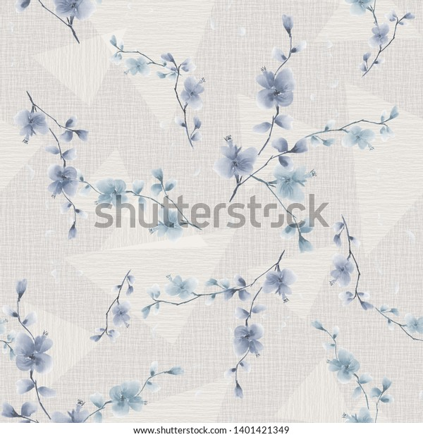 Seamless pattern of small blue flowers and branches on a light beige  background with geometric figures . Watercolor
