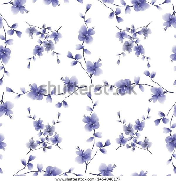 Seamless pattern small blue flowers and branches on a white background. Watercolor