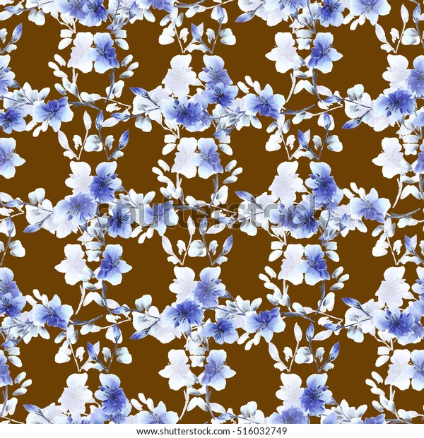 Seamless pattern small  blue flowers and branches on a chocolate background. Floral background. Watercolor