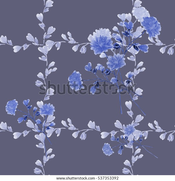 Seamless pattern small blue flowers and bouquets and blue branches on a deep gray background. Watercolor