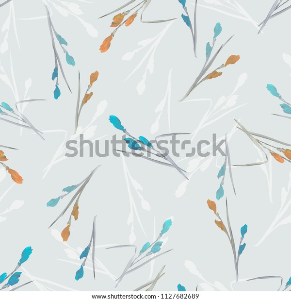 Seamless pattern of small blue and orange flowers and branches on a light gray background. Watercolor