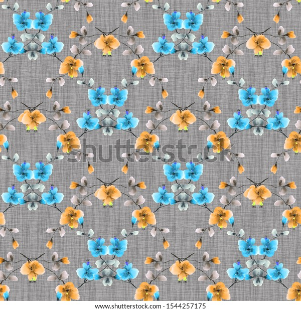 Seamless pattern of small blue and yellow flowers on the dark gray background. Watercolor - 10