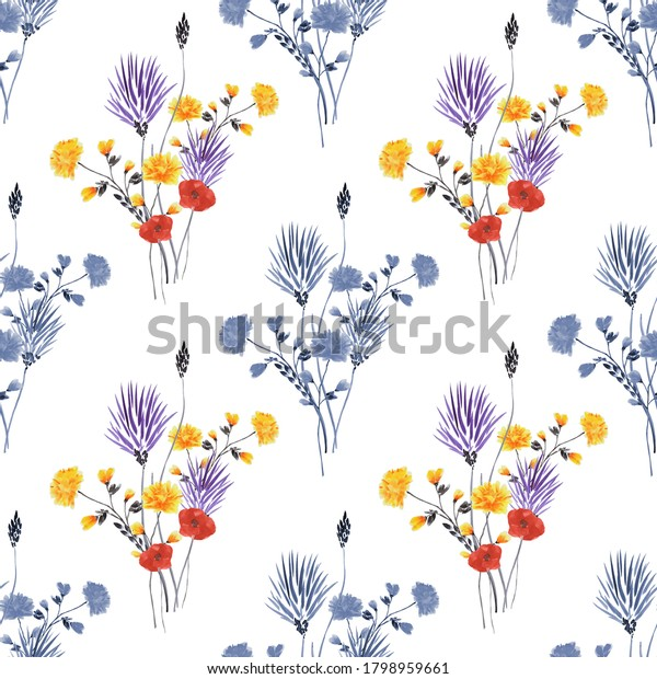 Seamless pattern of small bouquets with wild yellow, blue, red flowers on a white background. Watercolor