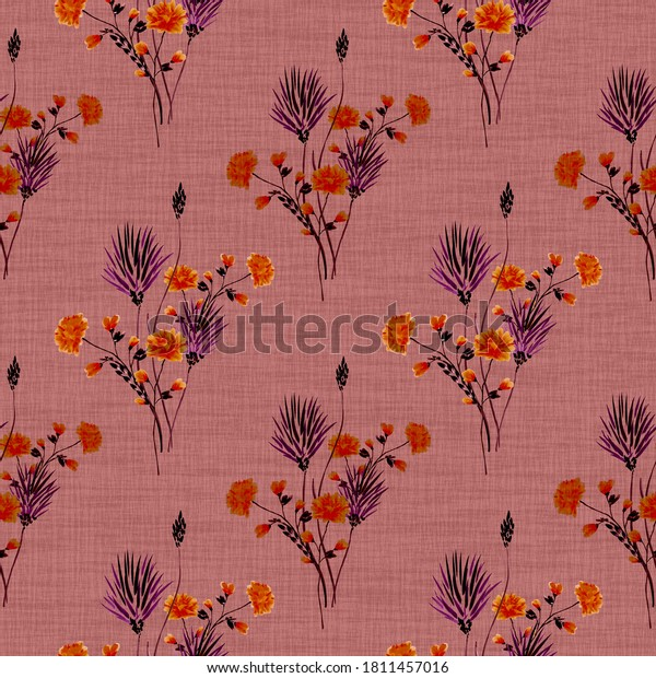 Seamless pattern of small bouquets with wild pink and red flowers on a deep pink  background.  Watercolor