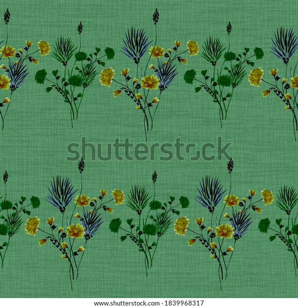 Seamless pattern of small bouquets with wild yellow and green flowers on a green background. Watercolor