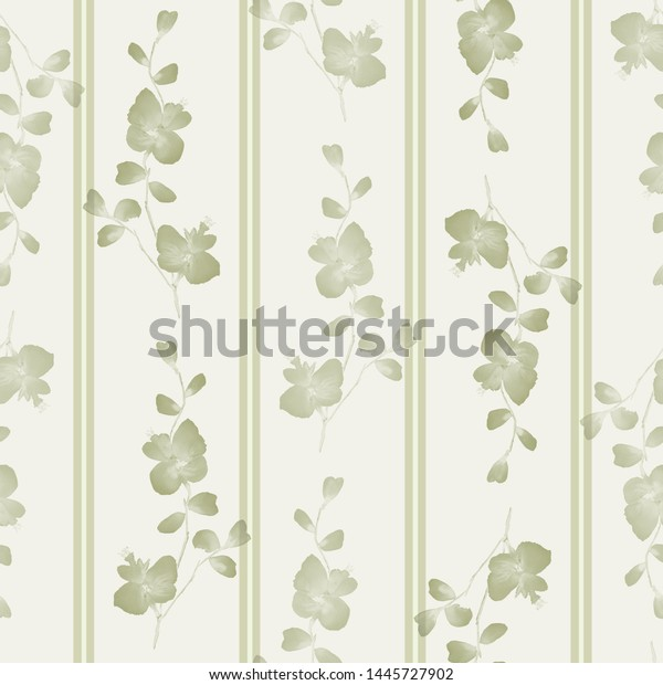 Seamless pattern small branchs with beige flowers on a light yellow background with vertical strips. Watercolor -3