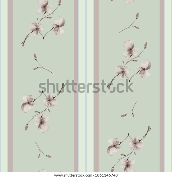 Seamless pattern small branchs with beige flowers on a green background with vertical stripes. Watercolor
